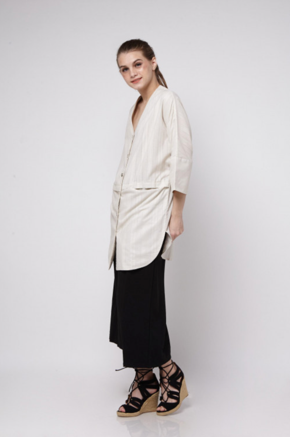 Nude Oversized Shirt - Imaji Studio