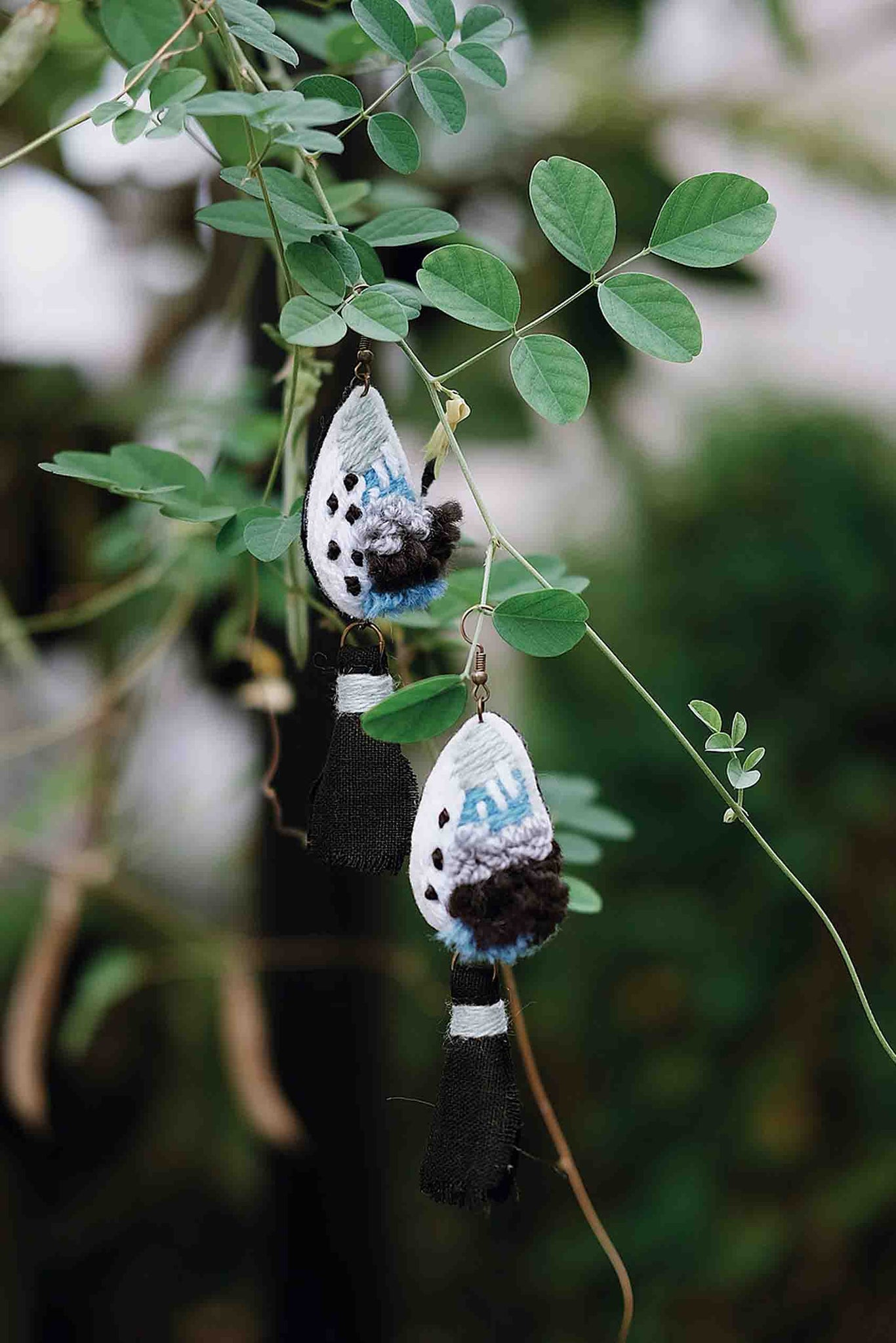 Teardrop Embroidery Earrings - Imaji Studio