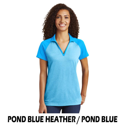 NLCC LST641 Ladies Raglan Heather Block Polo