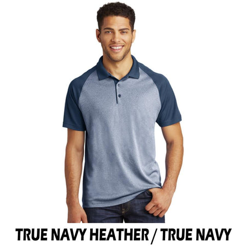 NLCC ST641 Mens Raglan Heather Block Polo