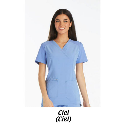 AMH Cherokee iflex Scrubs Mock Wrap Knit Panel Top CK619