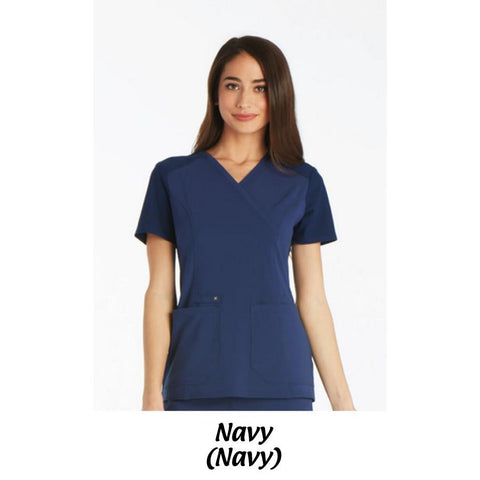 MMC Cherokee iflex Scrubs Mock Wrap Knit Panel Top CK619