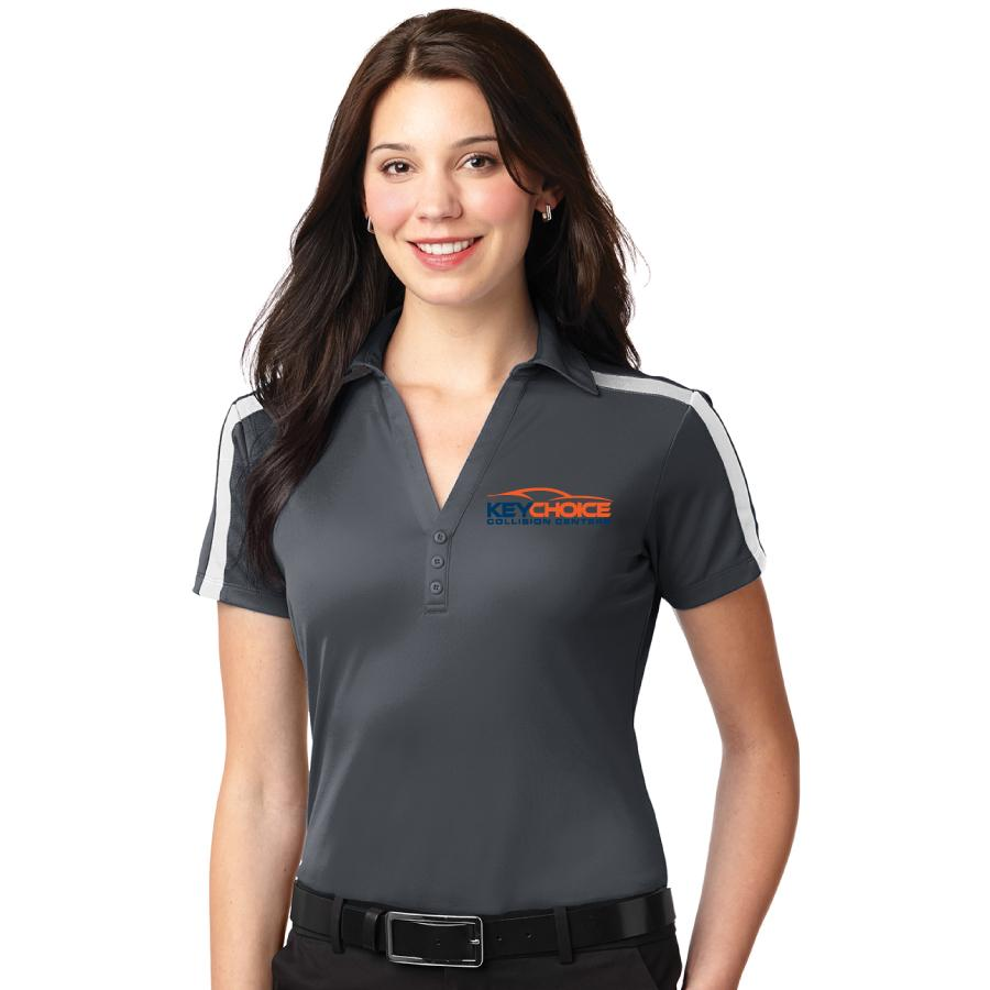 Key Choice Silk Touch™ Performance Colorblock Stripe Polo Women's