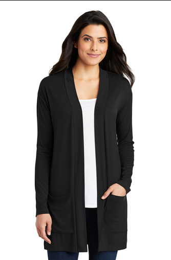 LK5434 Port Authority Long Pocket Cardigan (Black)