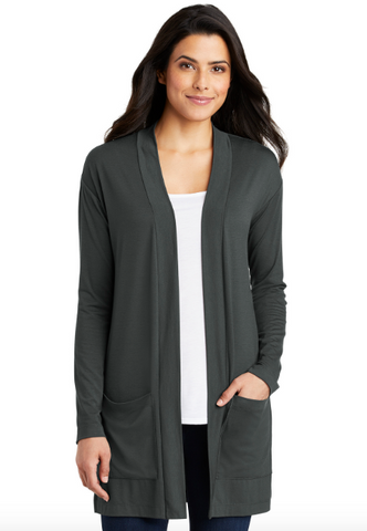 LK5434 Port Authority Long Pocket Cardigan (Grey Smoke)