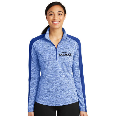 Key Choice Electric Heather Colorblock 1/4-Zip Pullover Women's