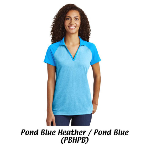 AMH LST641 Sport-Tek® Ladies PosiCharge® RacerMesh®Raglan Heather Block Polo