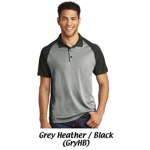 AMH ST641 Sport-Tek Unisex PosiCharge® RacerMesh®Raglan Heather Block Polo