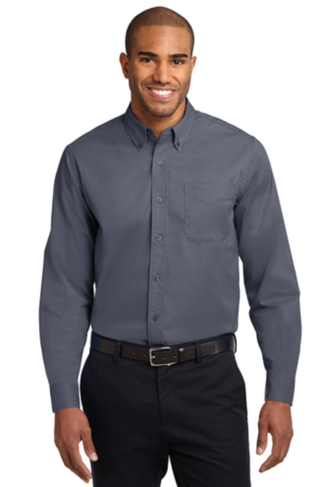 MMC Port Authority Adult Long Sleeve Easy Care Shirt S608 -- Steel Grey