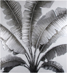 Tropical Leaf Island Style : Metallic Silver Grey Canvas Wall Art