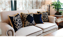 Load image into Gallery viewer, Embroidered Navy Blue Cushion with Gold Fringing Celtic Nautical Design