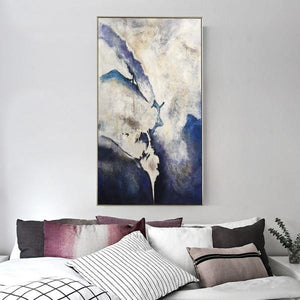 Abstract Hand Painted 'Blue Black Haze' Wall Art