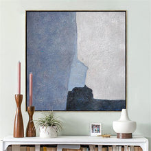 Load image into Gallery viewer, Abstract Hand Painted 'Blue Blocks' Wall Art