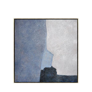 Abstract Hand Painted 'Blue Blocks' Wall Art