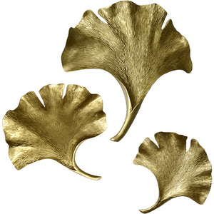 Wall Art 3D Gingko Leaf Wall Hanging Set of 3
