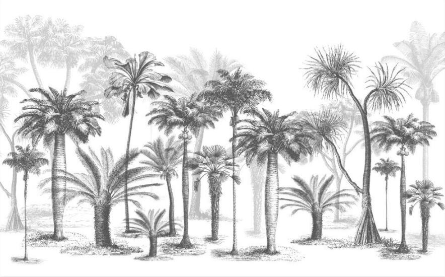 Black And White Forest Vintage Retro Wallpaper Island Style Art Mural