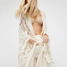 Load image into Gallery viewer, Bohemian White Lace Flare Long Sleeve Coat, Maxi, Gown Beach