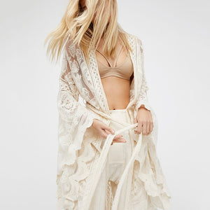 Bohemian White Lace Flare Long Sleeve Coat, Maxi, Gown Beach