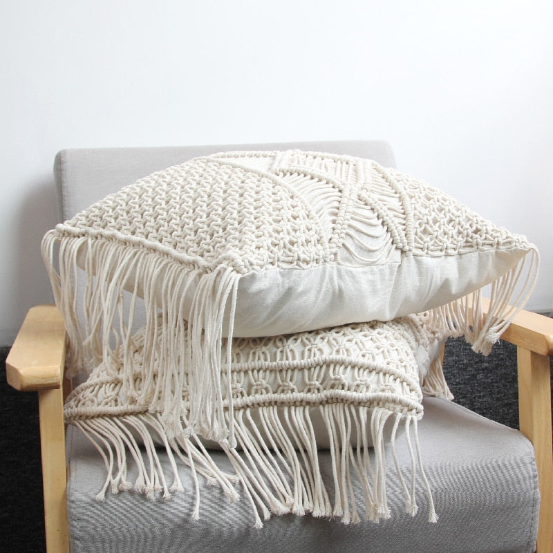 Bohemian Woven Cushion Fringe Diamond Pattern