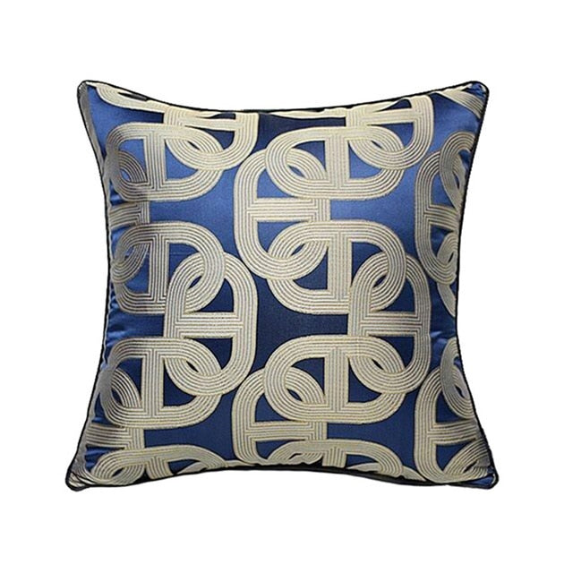 Navy Blue & Gold Cushion Art Deco Geometric Pattern with Pipping