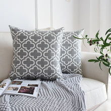 Load image into Gallery viewer, Grey & White Embroider Two Tone Cushion Cover