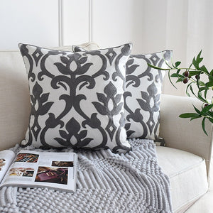 Grey & White Embroider Two Tone Cushion Cover