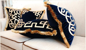 Embroidered Navy Blue Cushion with Gold Fringing Celtic Nautical Design