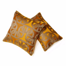 Load image into Gallery viewer, Orange & Gold Lumber Cushion Art Deco Geometric Pattern With Pipping