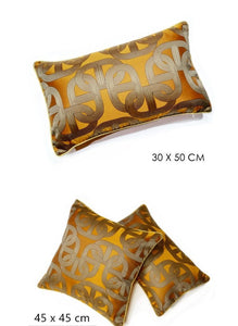Orange & Gold Lumber Cushion Art Deco Geometric Pattern With Pipping