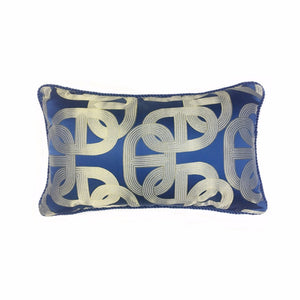 Navy Blue & Gold Lumber Cushion Art Deco Geometric Pattern with Pipping