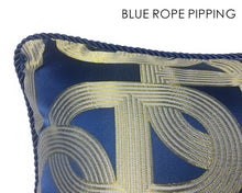 Load image into Gallery viewer, Navy Blue & Gold Lumber Cushion Art Deco Geometric Pattern with Pipping