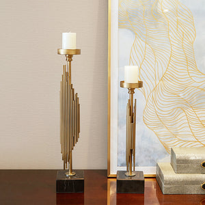 Gold Art Deco Set Candle Holders Marble Base