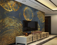 Load image into Gallery viewer, Wood Tree Stump Gold Foil Texture Abstract Wallpaper Art Wall Mural