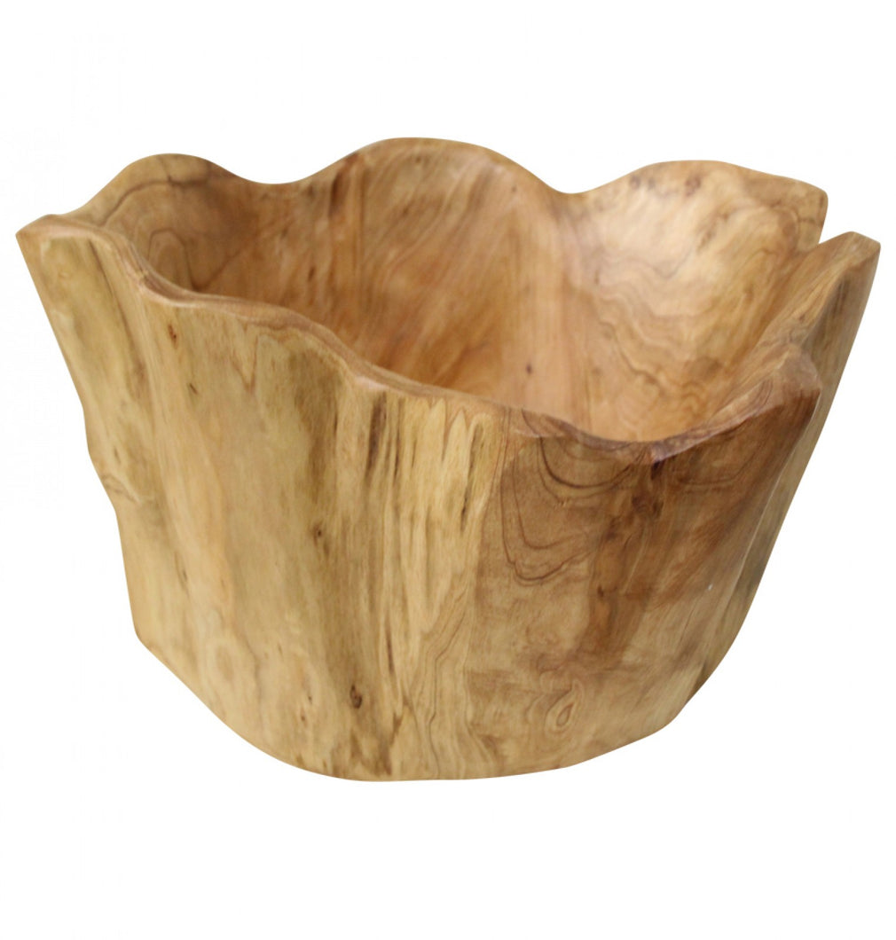 Hand Carved Wooden Bowl - Tall