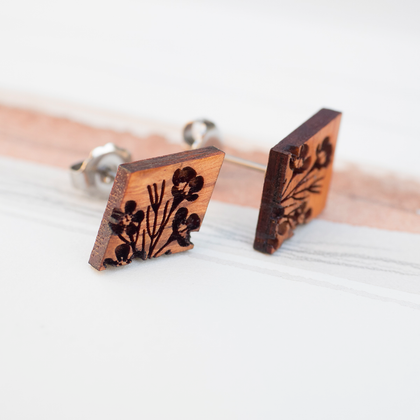 Waxflower Wooden Earrings