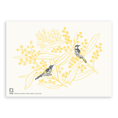 Wattle and Honeyeaters Tea Towel
