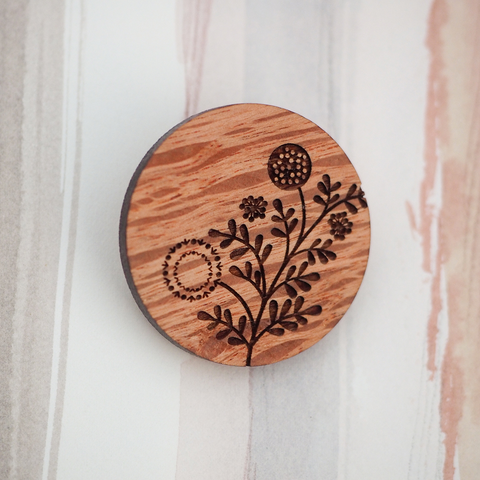 Wattle Wooden Brooch