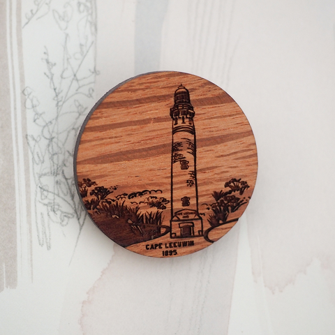 Cape Leeuwin Lighthouse Wooden Brooch
