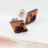 Black Swan Wooden Earrings