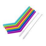 6Pcs Reusable Straws Food Grade Silicone Drinking Straws