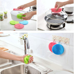 2Pcs Silicone Dish Washing Sponge Scrubber Kitchen Cleaning antibacterial Tool
