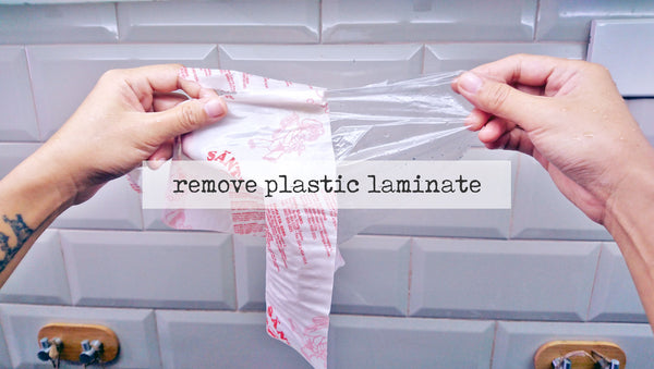 plastic laminate peeled off single-use paper