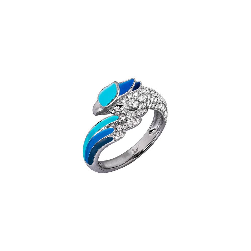 Artist Macaw Ring<br> (Full Diamond, 9K Solid Gold)