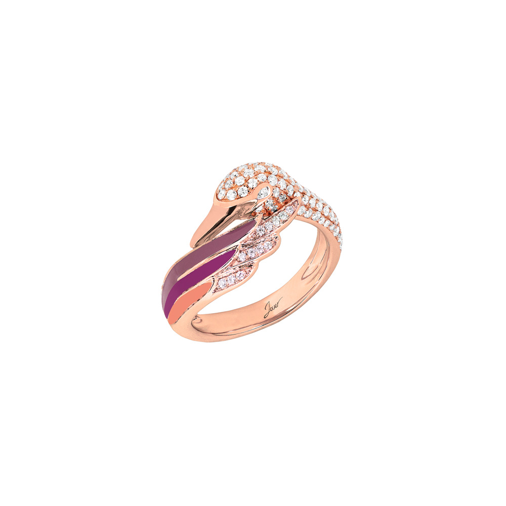 Artist Swan Ring<br>(Full Diamond, 18K Solid Gold)
