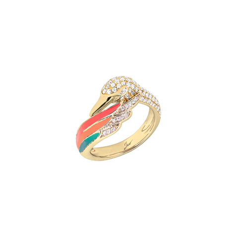 Artist Swan Ring<br> (Full Diamond, 9K Solid Gold)