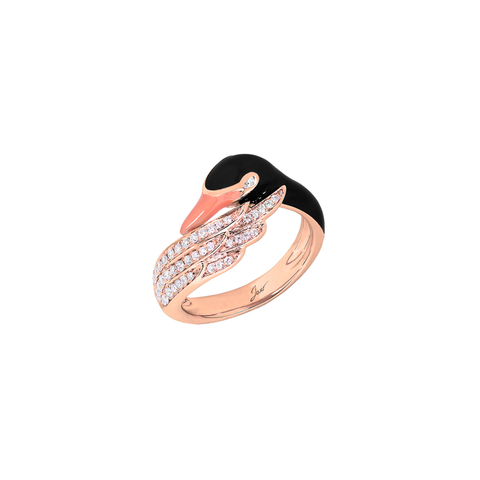 Artist Swan Ring<br>(Semi-Diamond, 18K Solid Gold)