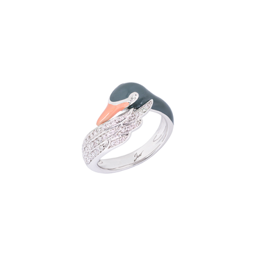 Artist Swan Ring <br>(Semi-Diamond, 9K Solid Gold)