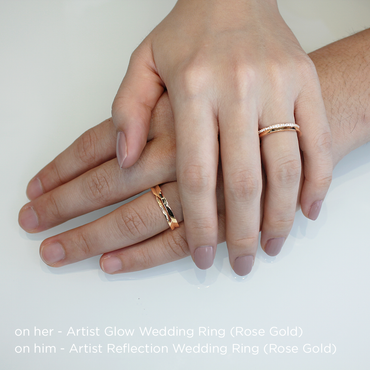 Artist Glow Wedding Ring<br>(Diamonds, 9K Solid Gold)