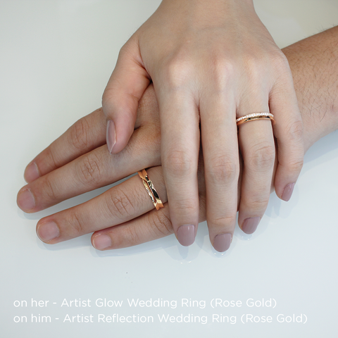 Artist Glow Wedding Ring<br>(Diamonds, 18K Solid Gold)