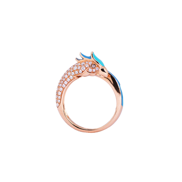 Artist Macaw Ring<br> (Full Diamond, 18K Solid Gold)